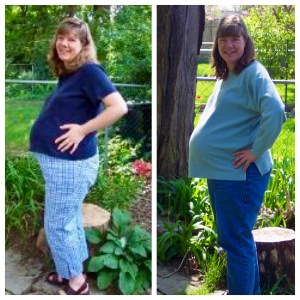 two photos of me very pregnant