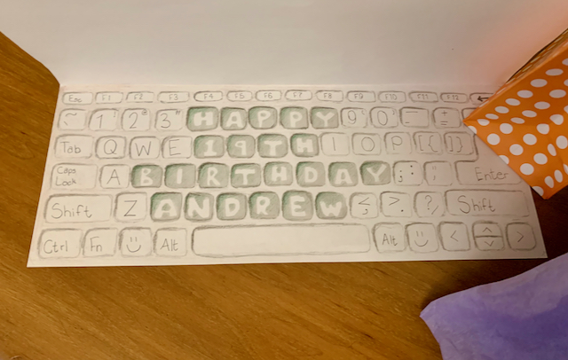 """hand-drawn keyboard with the letters on the keys saying """"Happy 19th Birthday Andrew"""""""