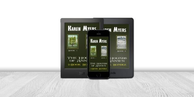 Display of available formats for The Hounds of Annwn (1-2), a book bundle of To Carry the Horn and The Ways of Winter. Written by Karen Myers. Published by Perkunas Press (PerkunasPress.com).