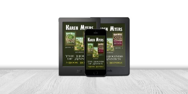 Display of available formats for The Hounds of Annwn (3-5), a book bundle of King of the May, Bound into the Blood, and Tales of Annwn. Written by Karen Myers. Published by Perkunas Press (PerkunasPress.com).