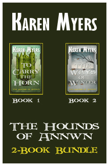Image of a bundle of books 1 & 2 from The Hounds of Annwn fantasy series by Karen Myers
