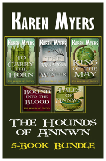 Image of a bundle of books 1 through 5 from The Hounds of Annwn fantasy series by Karen Myers