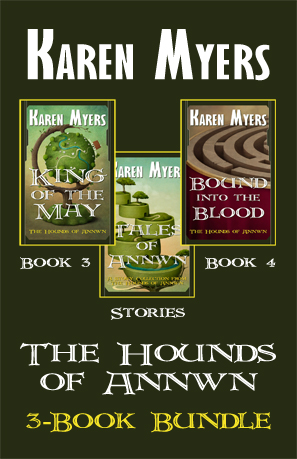 Image of a bundle of books 3 through 5 from The Hounds of Annwn fantasy series by Karen Myers