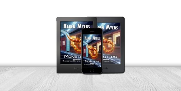 Display of available formats for Monsters, And More, a science fiction short story bundle. Written by Karen Myers (HollowLands.com). Published by Perkunas Press (PerkunasPress.com).