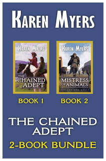 Image of book cover for The Chained Adept (1-2), a book bundle of The Chained Adept and Mistress of Animals. Written by Karen Myers (KarenMyersAuthor.com). Published by Perkunas Press (PerkunasPress.com).