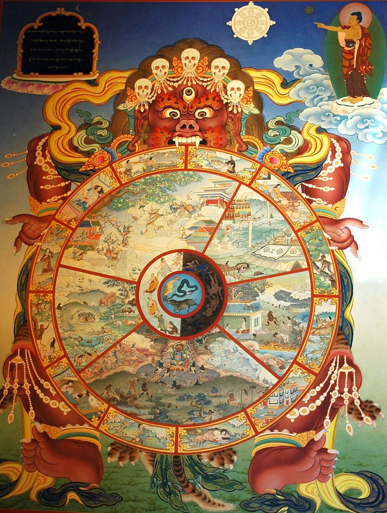 Traditional_bhavachakra_wall_mural_of_Yama_holding_the_wheel_of_life,_Buddha_pointing_the_way_out