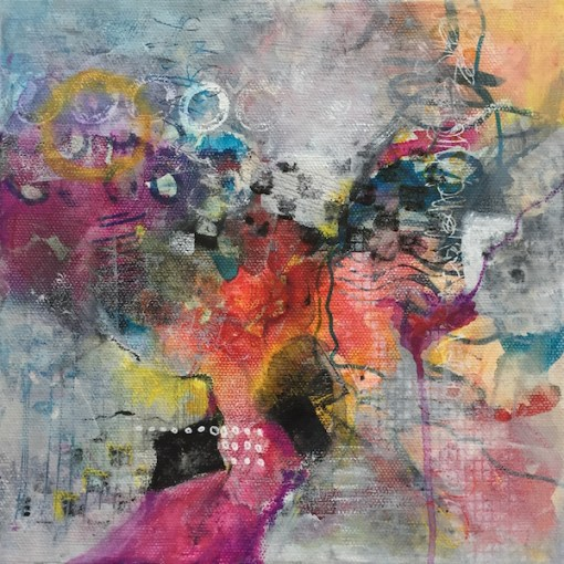 Happy Times - mixed media painting by Karen Phillips