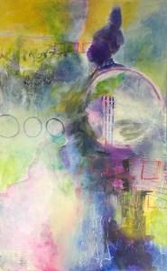"Dream Catcher Mixed media on canvas 48""x30"" © 2019 Karen Phillips"