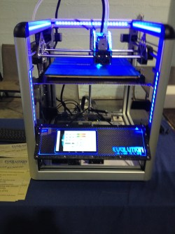 3-D printer in action - one of the larger and fancier models on display.