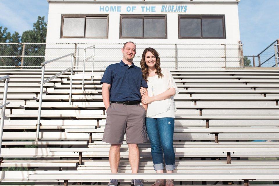 Engagement photos in football bleachers