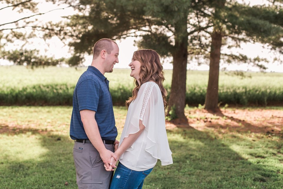 Engagement photos on Porta football field