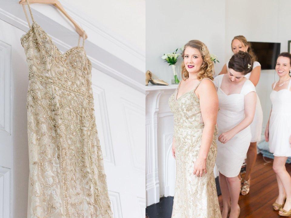 BHLDN gown on Vintage Bride at Shotgun House in New Orleans by Karen Shoufler