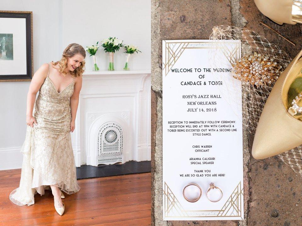 BHLDN gown on Vintage Bride and wedding details at Shotgun House in New Orleans by Karen Shoufler