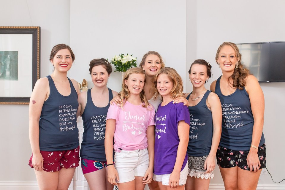 Bride and Bridesmaids in Custom Tanks at Shotgun House in New Orleans by Karen Shoufler