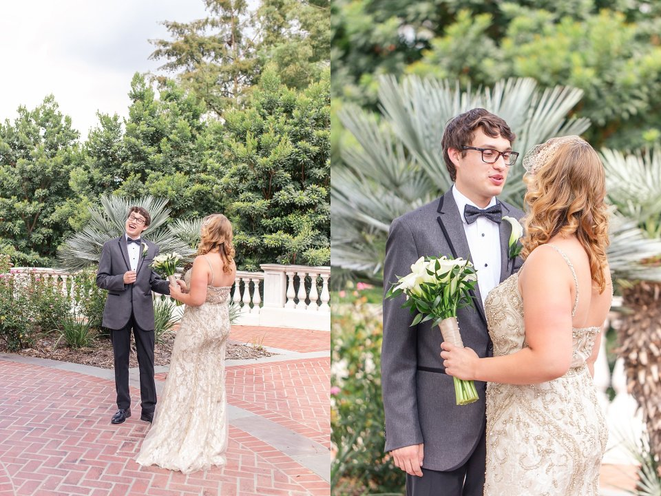 Bride and Groom first look at Audubon Park in New Orleans by Destination Wedding Photographer Karen Shoufler