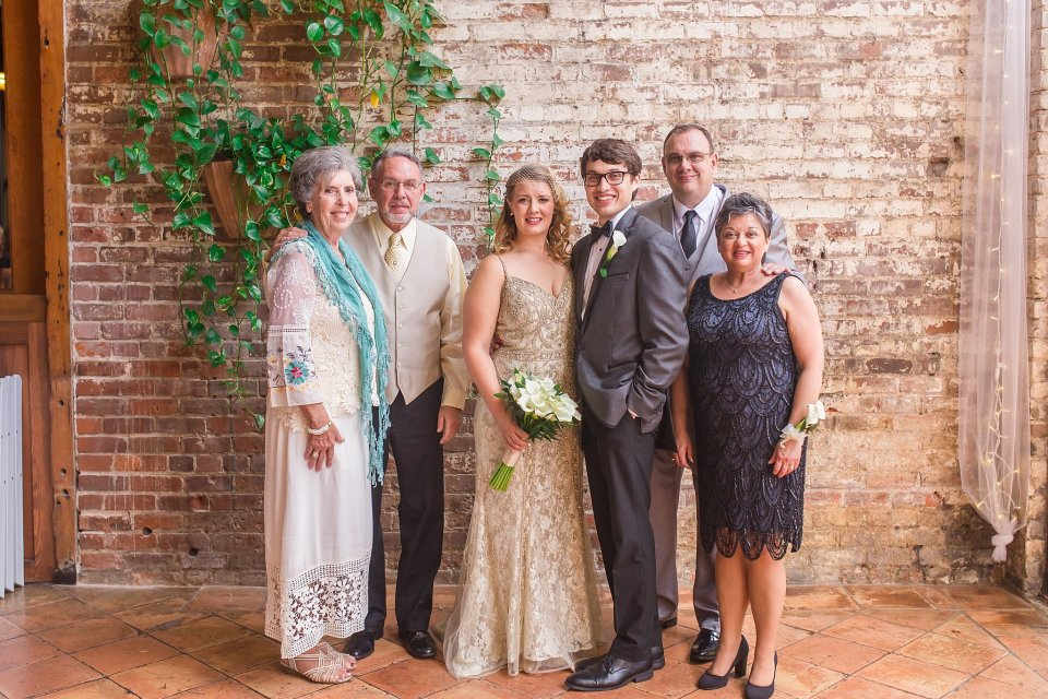 Bride and groom family photos at Rosy's Jazz Hall Wedding in New Orleans by Karen Shoufler