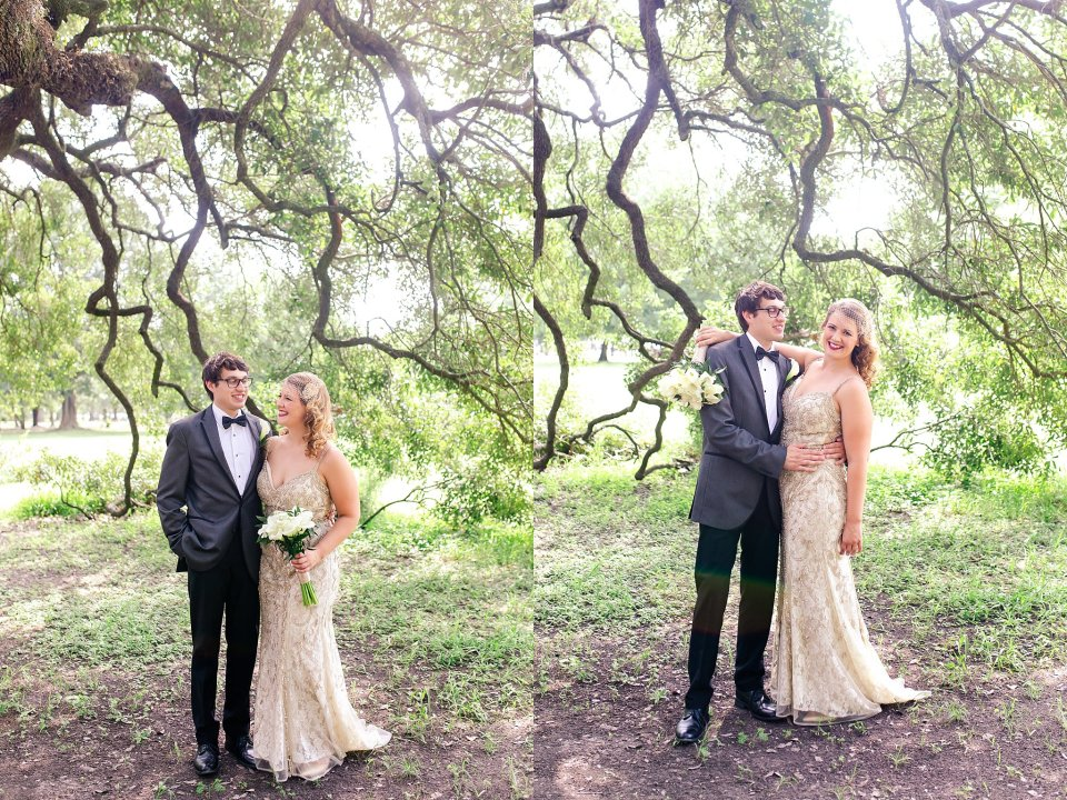 Bride and Groom Wedding Portraits in Audubon Park New Orleans by Karen Shoufler