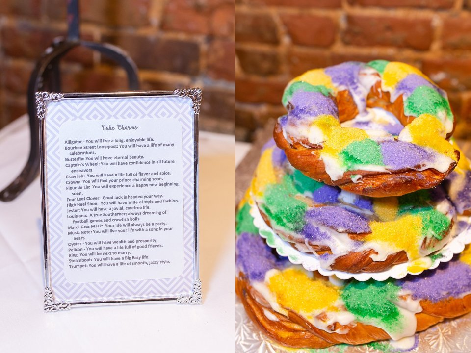 King Cake and cake pull for wedding at Rosy's Jazz Hall in New Orleans with live band Burger and Fries