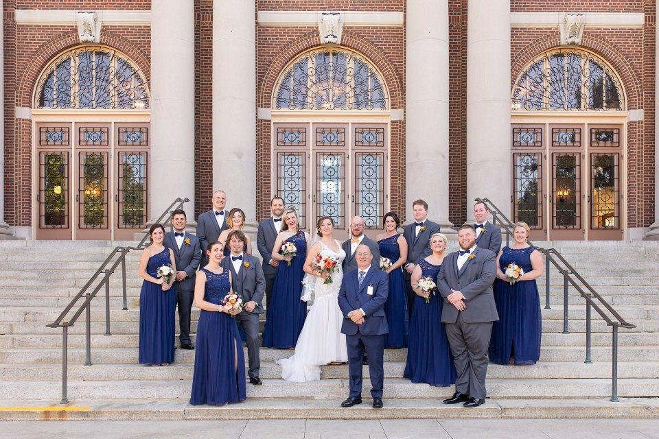Orange and blue fall wedding at University of Illinois Follinger Auditorium by Karen Shoufler Photography
