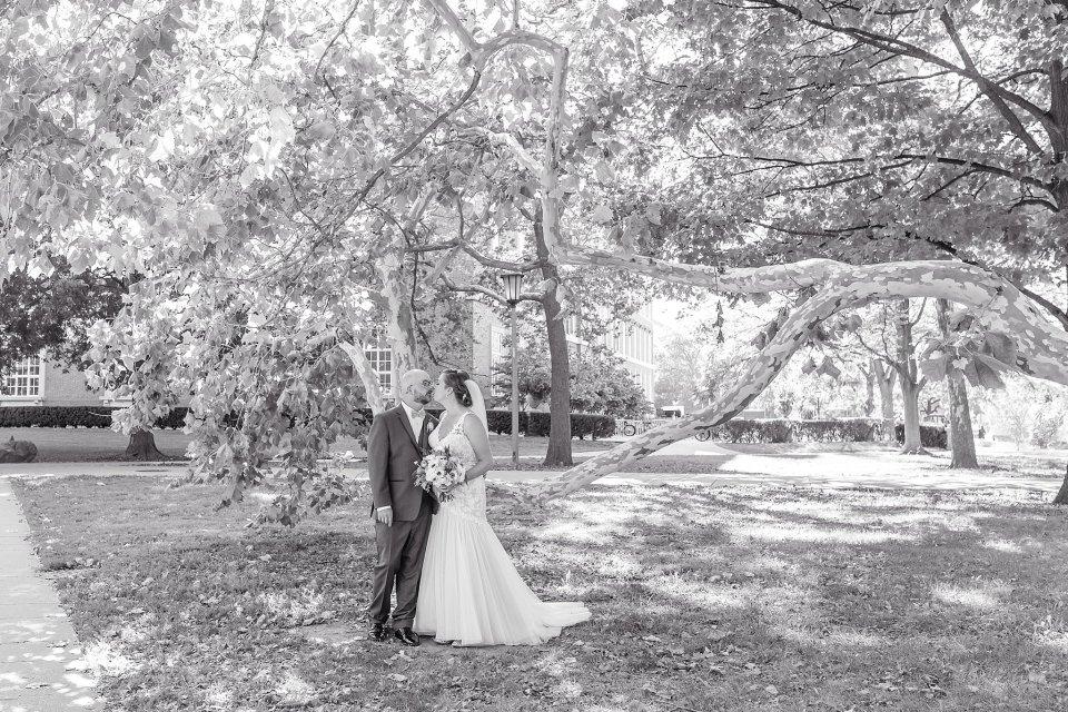 Orange and blue fall wedding at University of Illinois Champaign Urbana Campus by Karen Shoufler Photography
