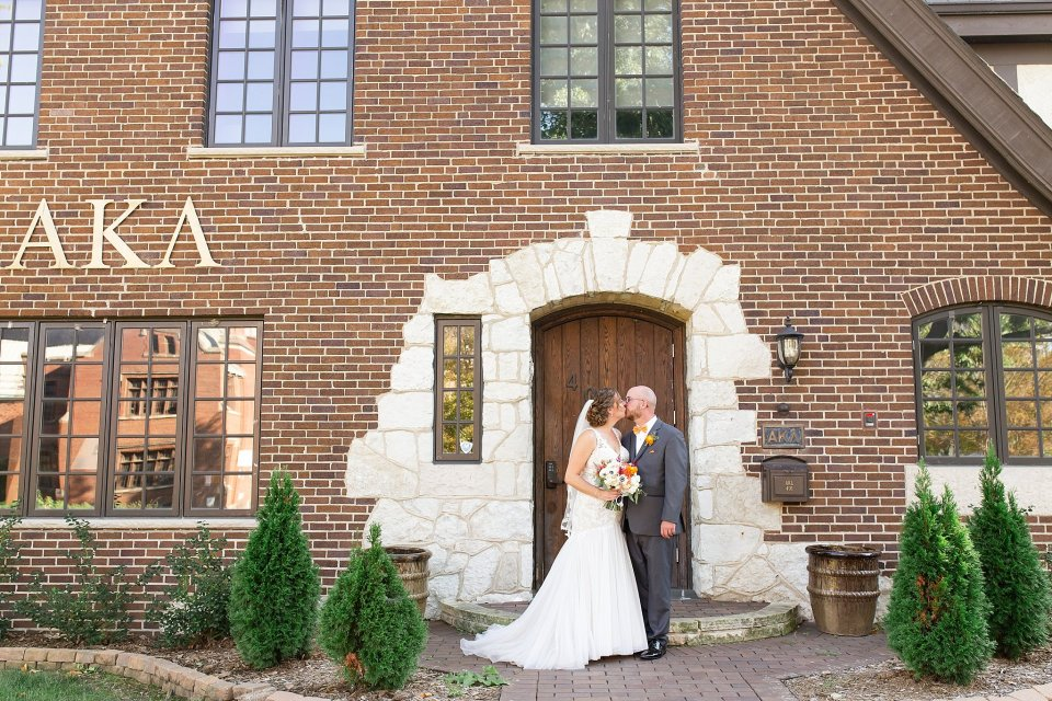 Orange and blue fall wedding at University of Illinois Champaign Urbana Campus by Karen Shoufler Photography