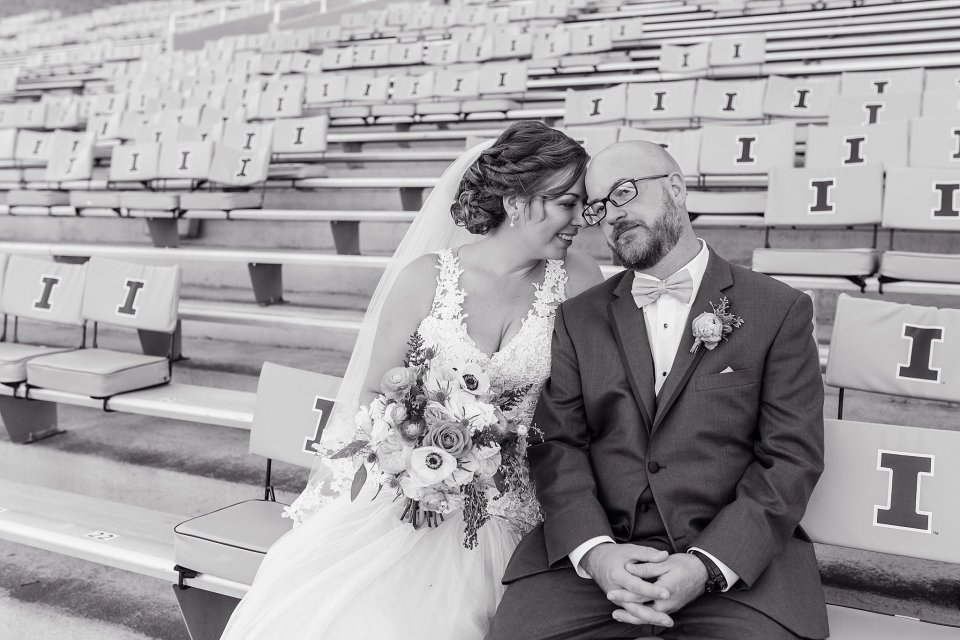 Orange and blue fall wedding at University of Illinois Champaign Urbana Memorial Stadium by Karen Shoufler Photography