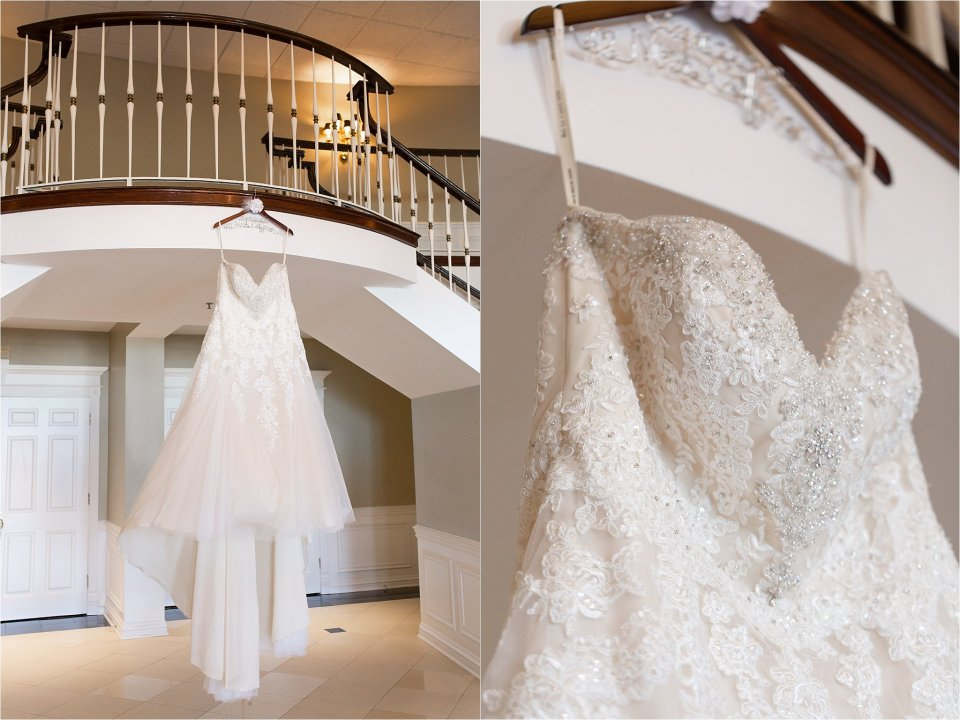 Gorgeous wedding dress hanging on stairs at Tuscany Falls in Tinley Park by Karen Shoufler Photography