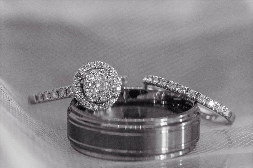 Black and white wedding ring shot by Karen Shoufler Photography