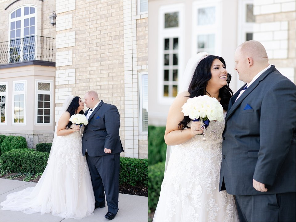 Bride and groom at Tuscany Falls in Tinley Park by Karen Shoufler Photography