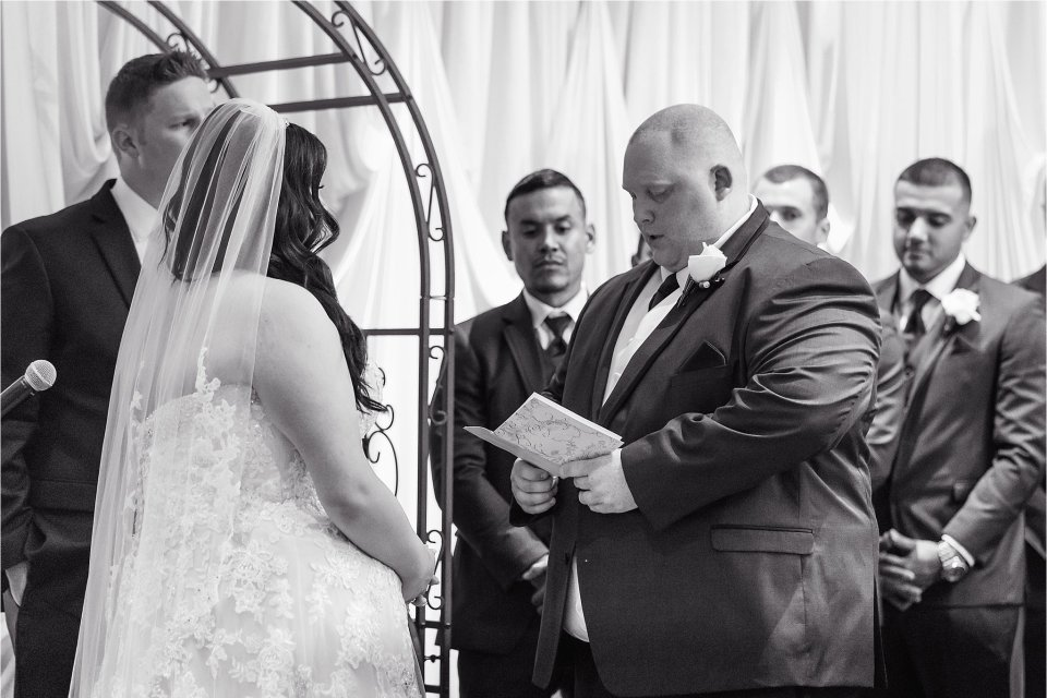 Wedding Ceremony at Tuscany Falls in Tinley Park by Karen Shoufler Photography