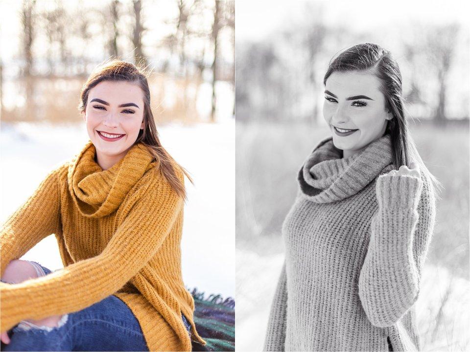 Senior Girl in Snow in Illinois
