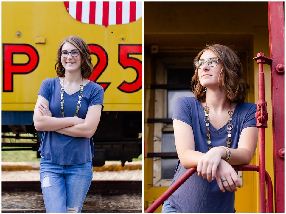 Senior girl on train at the depot in Kankakee