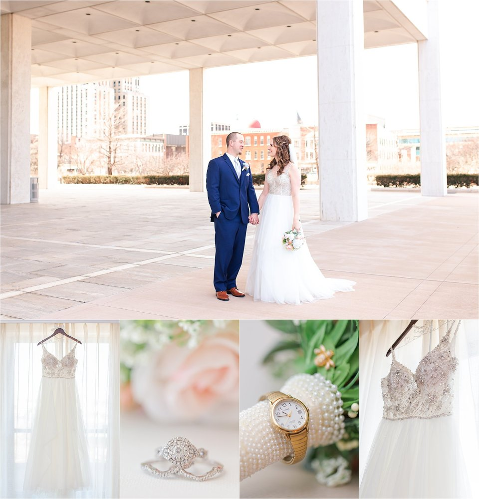 Bride and groom and wedding details in downtown Springfield, Illinois by Karen Shoufler Photography