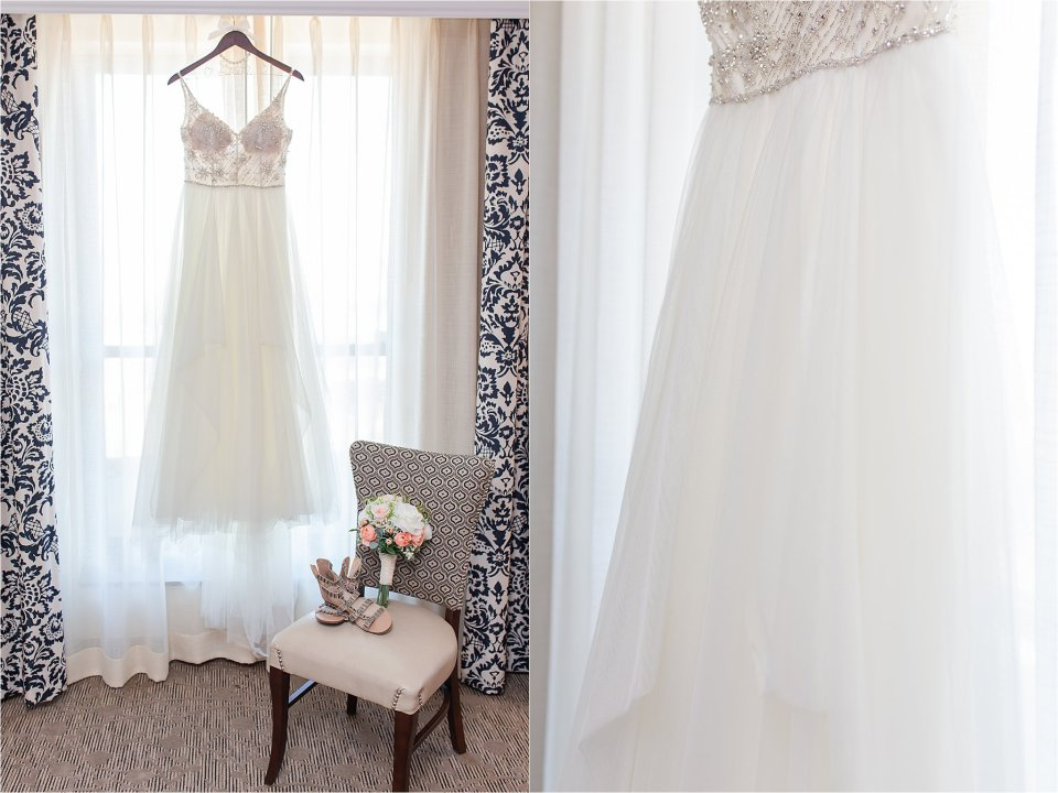 Bridal details in Presidential Suite at the Doubletree in Springfield, Illinois