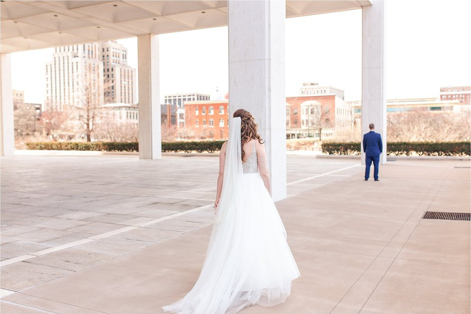 Bride and groom first look in downtown Springfield, Illinois