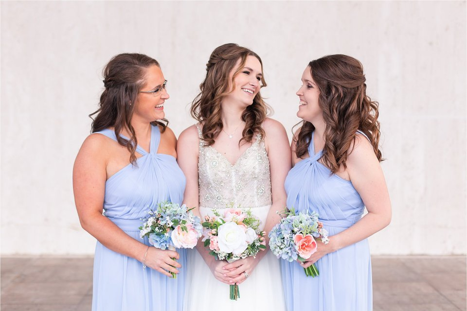 Bride and maids of honor in downtown Springfield, Illinois