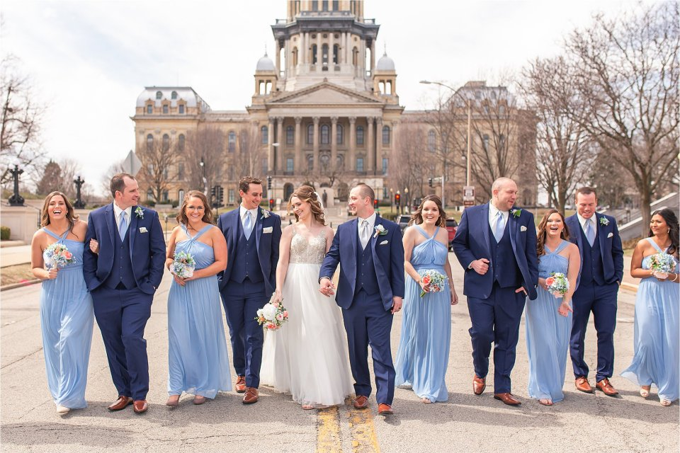 Wedding party portraits in downtown Springfield, Illinois