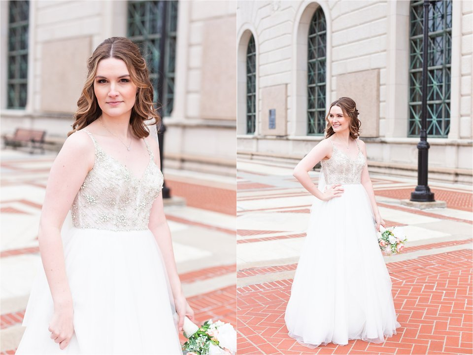 Bride and groom portraits in downtown Springfield, Illinois