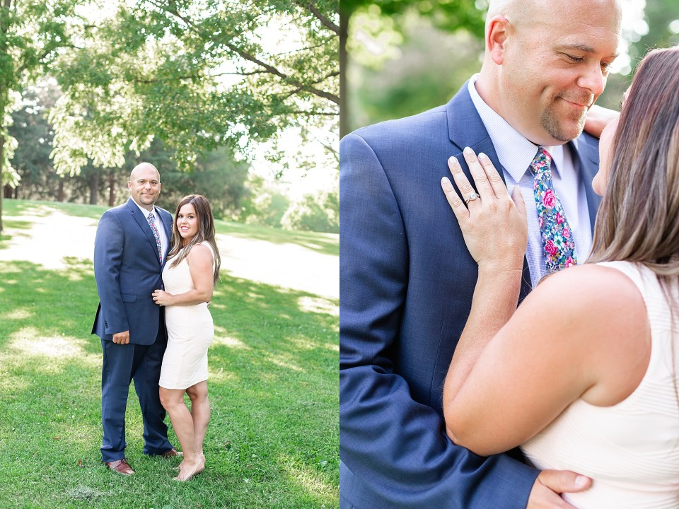 Summer dressy engagement session at Lake of the Woods Illinois