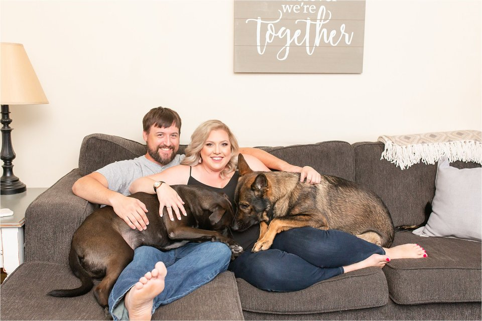 In home engagement session with dogs in Monticello, Illinois | Karen Shoufler Photography
