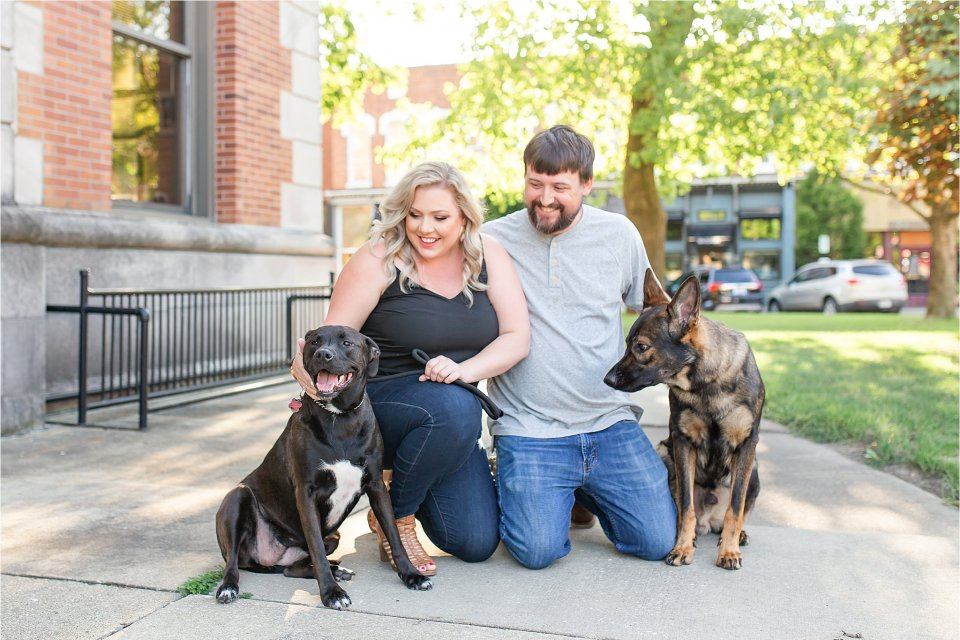 Engagement session with dogs in downtown Monticello, Illinois | Karen Shoufler Photography