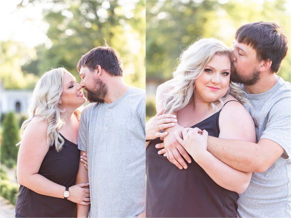 Couple cuddling in gardens during engagement session at Allerton Park in Monticello, Illinois | Karen Shoufler Photography