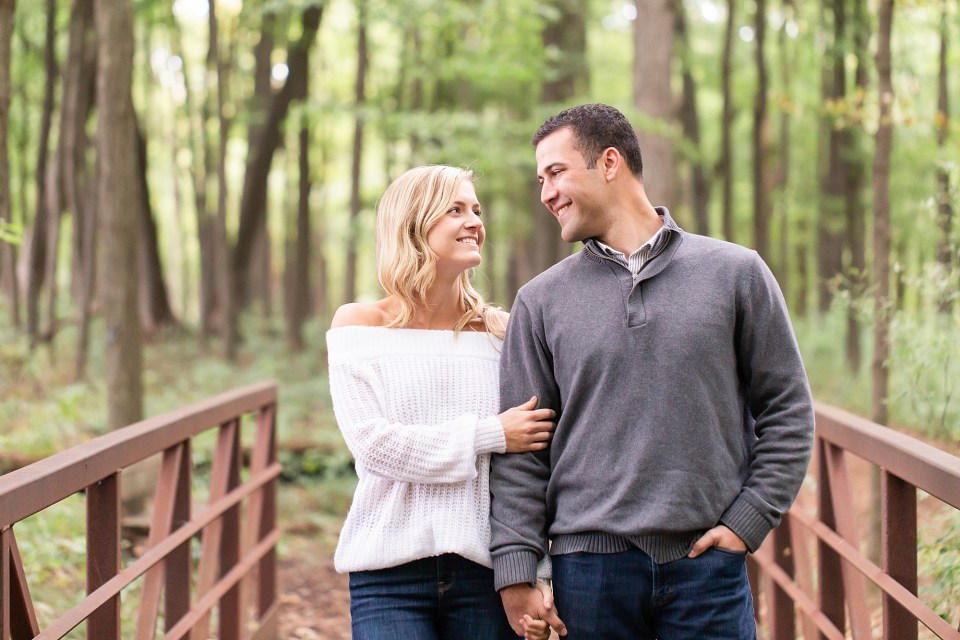 Stylish Couple in the fall at Morton Arboretum Engagement Photography by Karen Shoufler