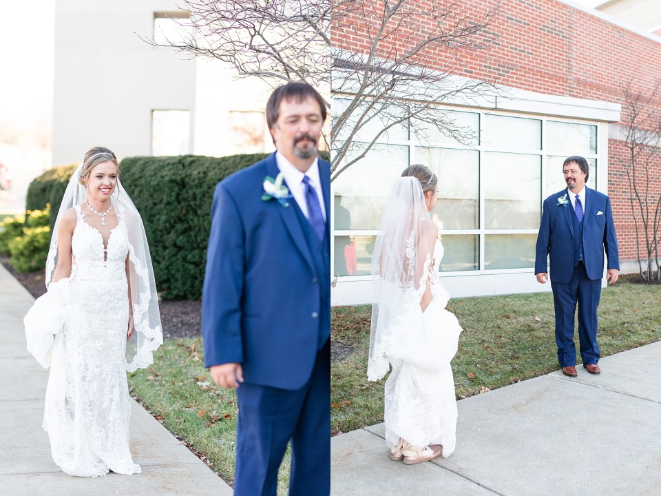 Father daughter first look at winter wedding at iHotel in Champaign, Illinois