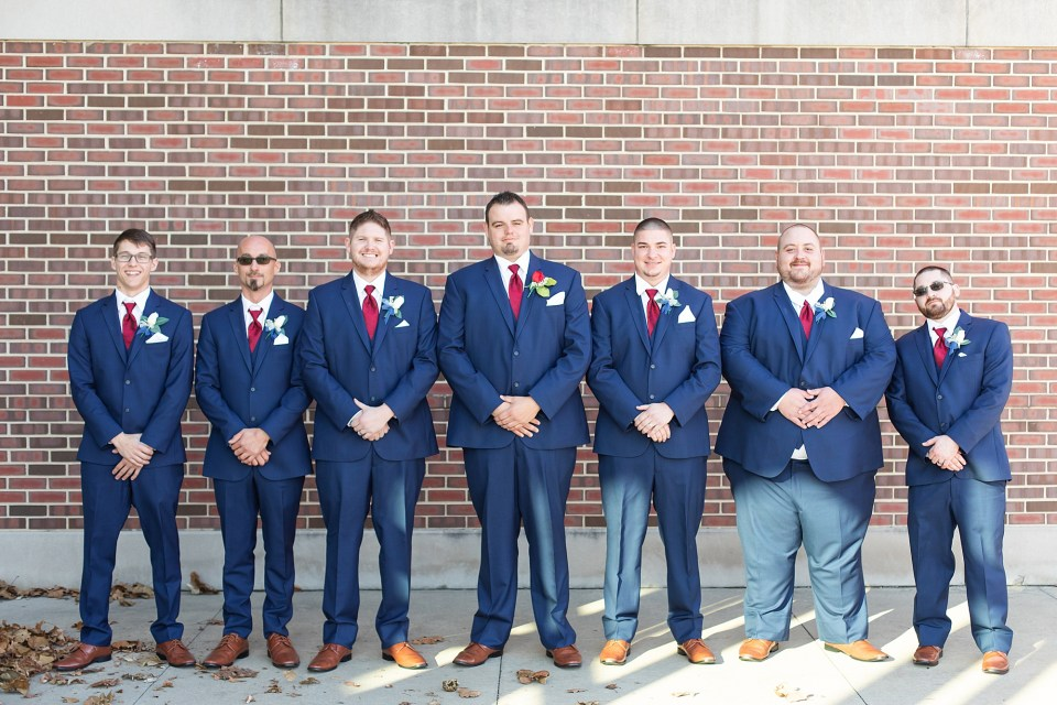 Groom and groomsmen portraits at iHotel in Champaign, Illinois