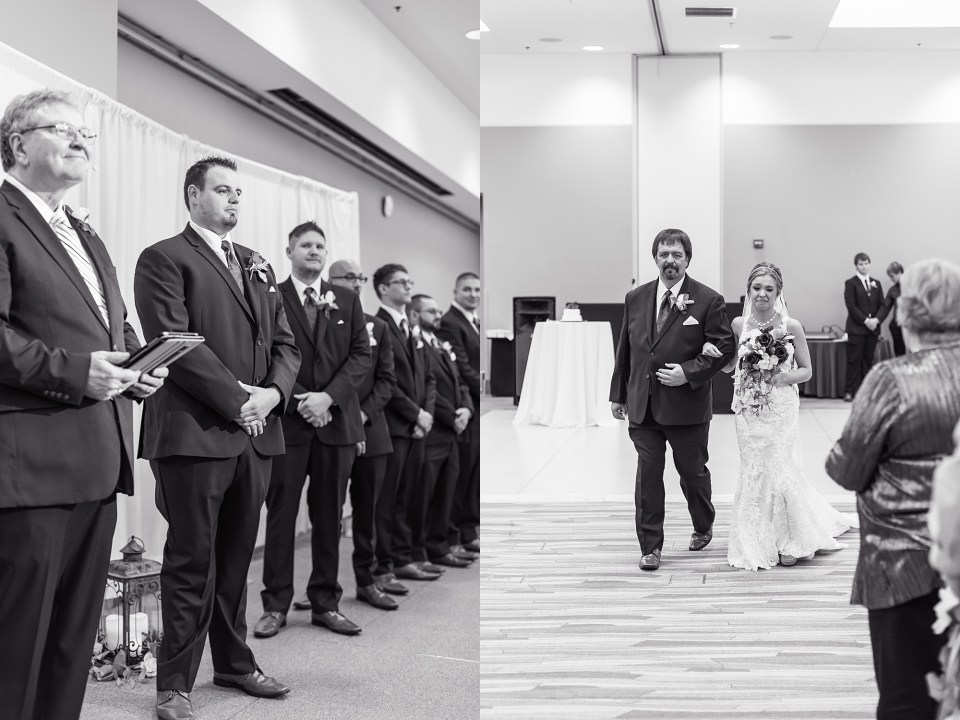 Winter wedding ceremony at iHotel in Champaign, Illinois