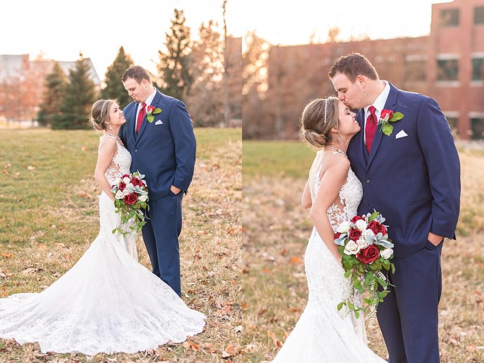 Bride and groom portraits in Champaign, Illinois winter wedding