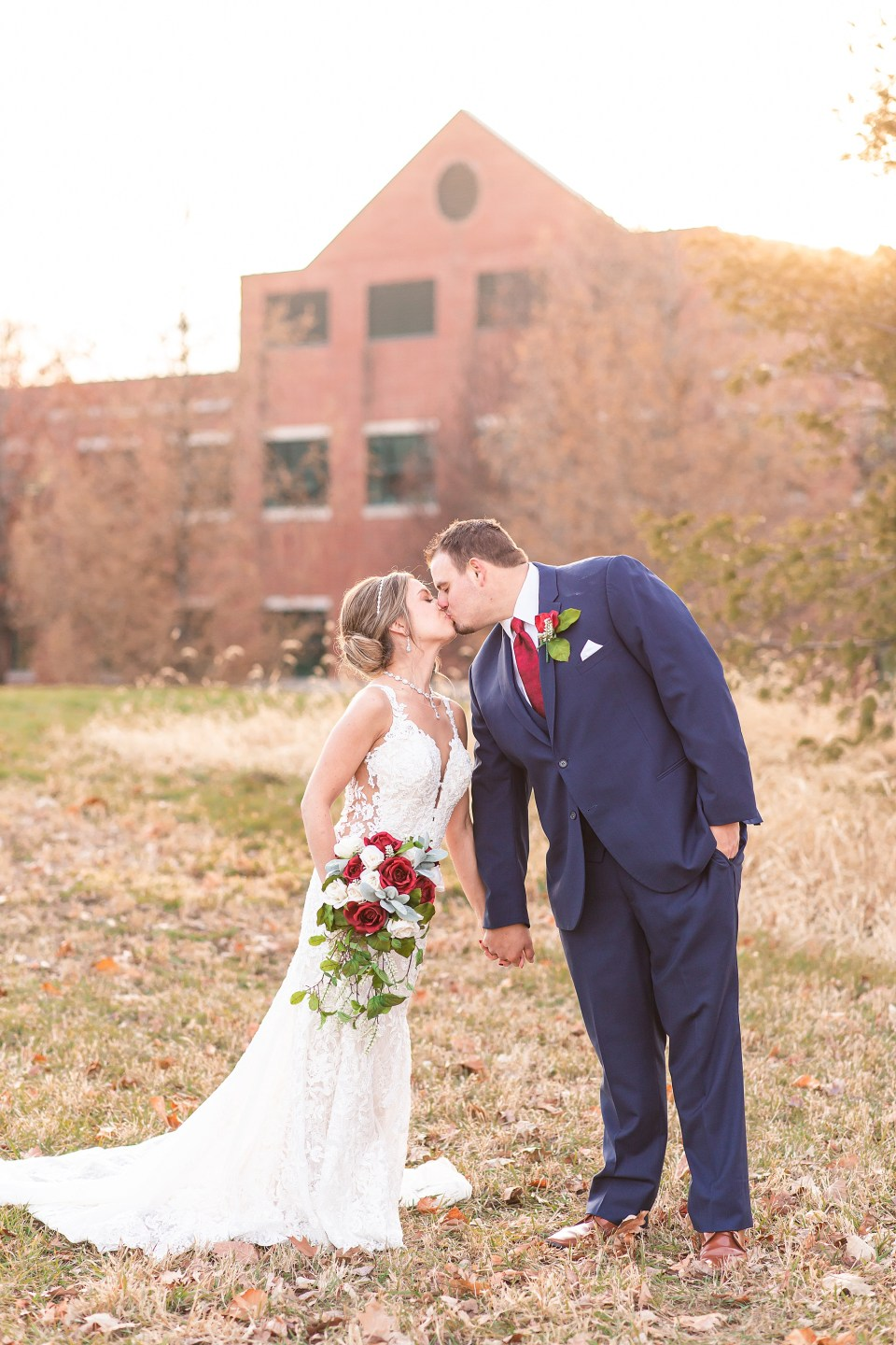 Bride and groom portraits in Champaign, Illinois winter wedding