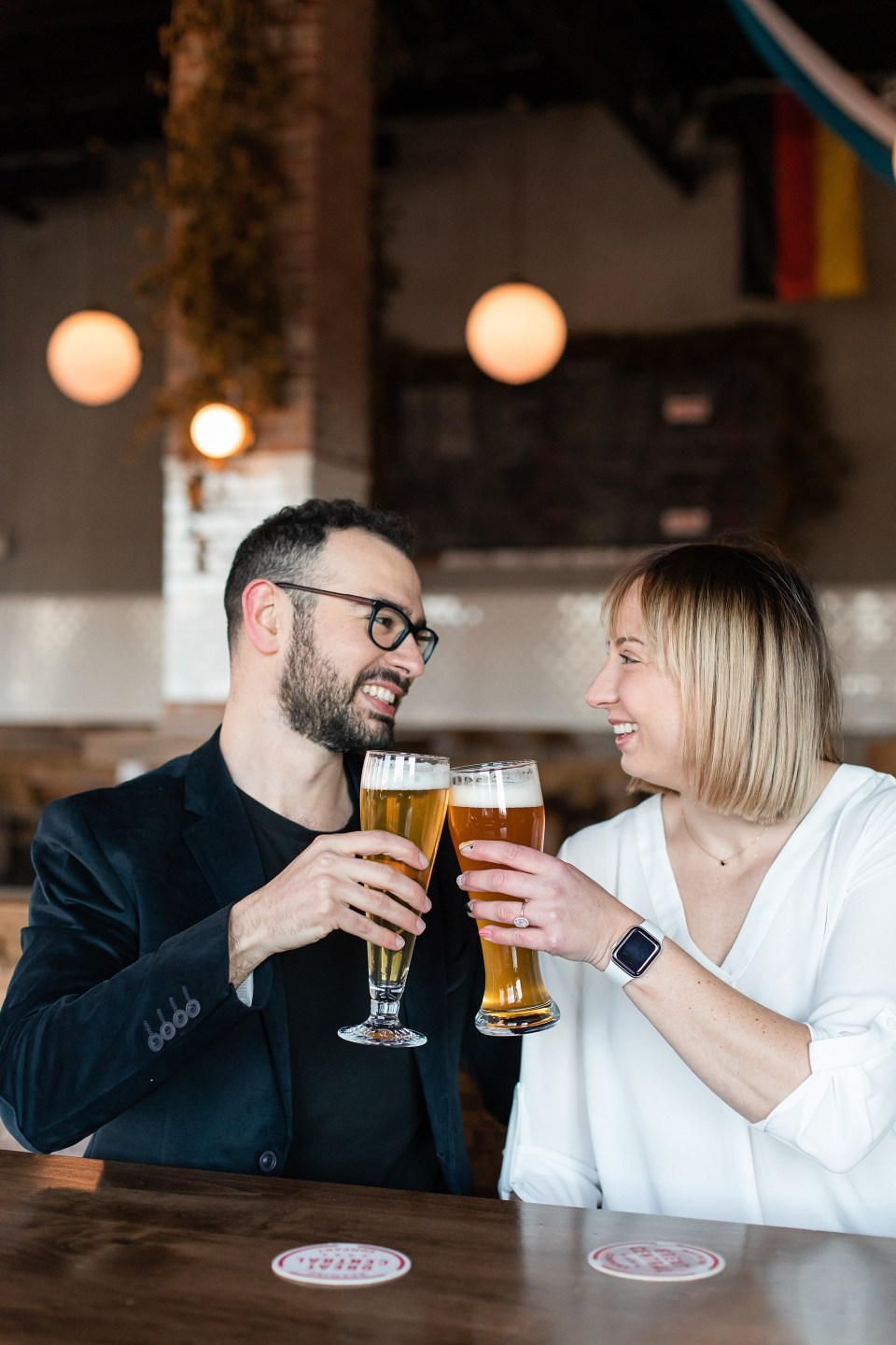 Brewery engagement photography at Great Central Brewing in Chicago West Loop