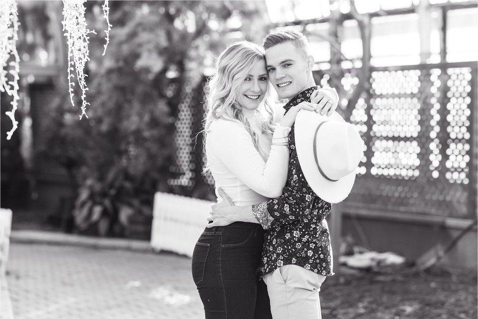 Black and white engagement photography at Lincoln Park Conservatory in Chicago